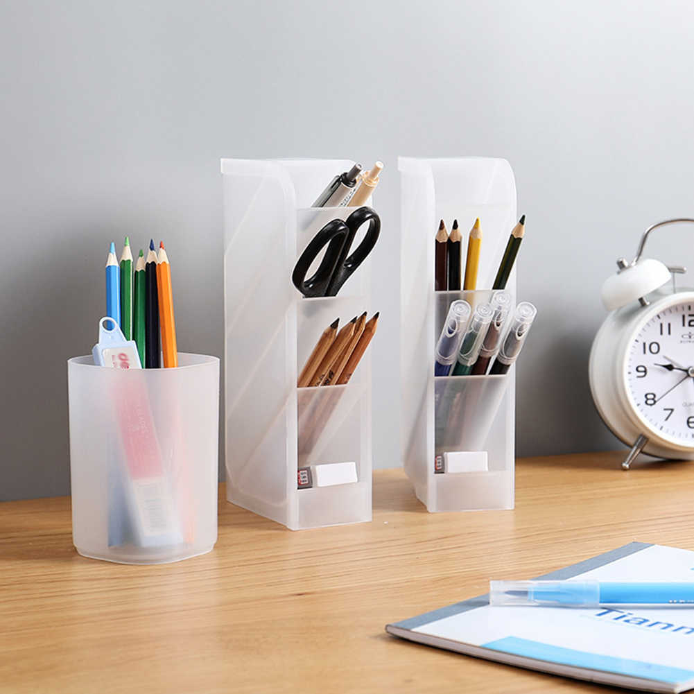 Hot Sale Desktop Transparent Makeup Brushes Pen Storage Box Cosmetics Tools Holder Case