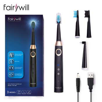 Fairywill Sonic Electric Toothbrush 3 Modes Waterproof Timer Rechargeable USB 4 Replacement Head Tooth Brush Whitening for Adult funho rotating electric toothbrush 2 minutes timer fast chargeable powerful sonic automatic tooth brush whitening for adult t01