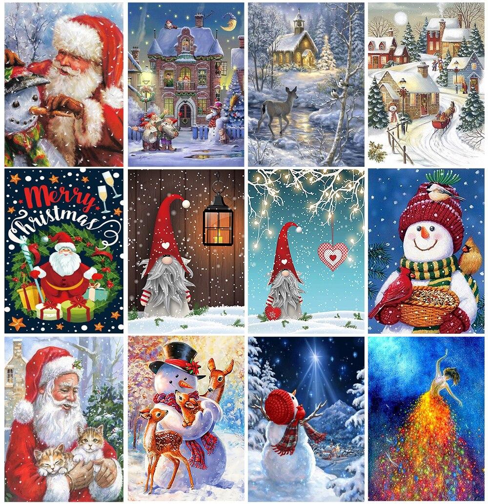 Новый продукт 5D алмазная живопись своими руками Рождественский пейзаж полная Стразы Вышивка Санта-Клаус мозаичный узор украшение для дома