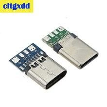 10 Uds. De conector USB 3,1 tipo C, 24 Pines, macho/hembra, adaptador para macho a hembra, Cable de alimentación de Cable de soldadura, USB-C, puerto para placa PCB