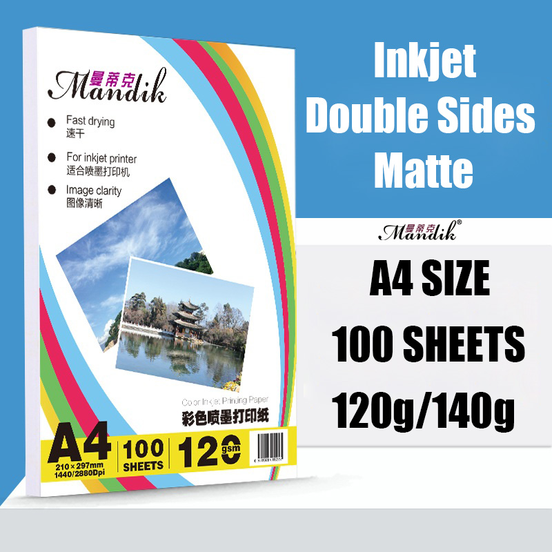 120g 140g A3 A4 100 sheets per pack double side matte inkjet printing coated photo paper
