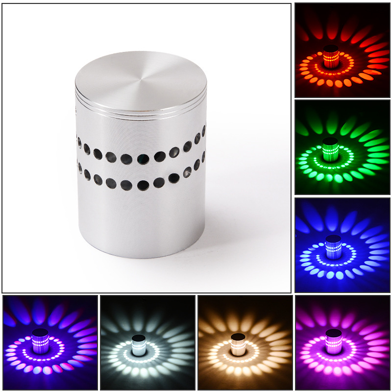 3W Spiral LED Wall Sconce RGB Ceiling Light For Art Gallery Decoration Walkway Bedroom Porch Hotel Lamp Led Wall Lamp Hot Sale