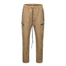 QoolXCWear Loose Fit Elastic Waist Cargo Pants Street Ankle Button Pants Large Pockets Casual Pants Fashion Cargo Pants L047
