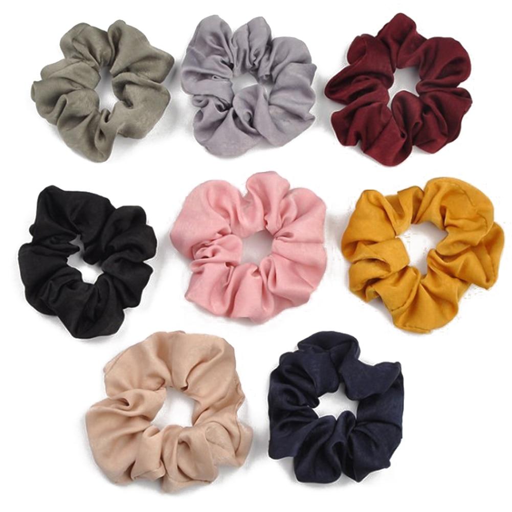 Pure Color Satin Hair Scrunchies Ring Elastic Hair Bands Hair Rope Ties Ponytail Elastic Hair Bands High Quality Headwear Yellow