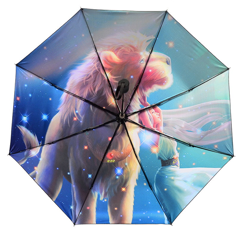 Manufacturers Direct Supply Shopping Products Chinese Zodiac Umbrella Ultra-strength UV-Protection Parasol Rain Or Shine Dual-Pu