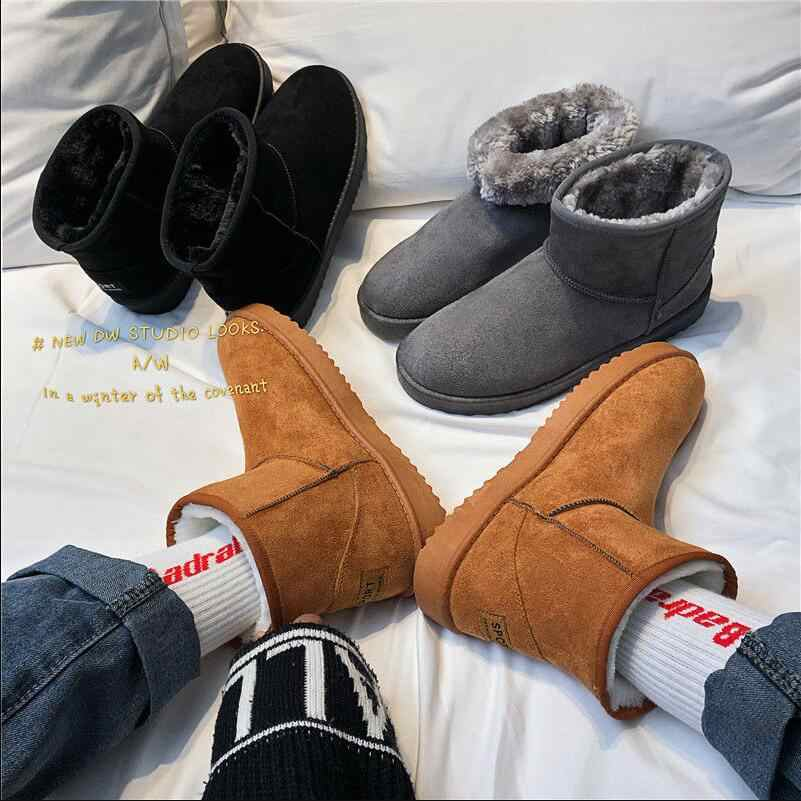Snow boots Men's Winter Warm Shoes Slip-on Plush Non-slip Thick Bottom Short Boots Male Cotton Bread Shoe Man Brown Grey Black
