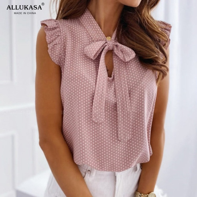 Allukasaa Women Blouses Short Sleeves Shirt Female Tops Ruffle Pullover Vintage Bow Up Polka Dot Summer Lace Butterfly 3