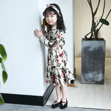 CNUM Hot Sale Girls Printed Spring Long Sleeve Kids Clothing Dress Floral Girl Princess Dresses Wholesale girls dress spring 2018 children s floral print long sleeve princess yarn dresses autumn teenager kids clothing for 5 15yrs