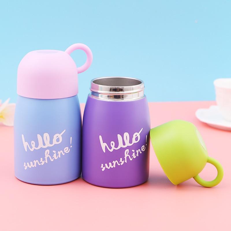 300ML Mini sevimli kahve vakum şişeleri termos paslanmaz çelik seyahat içecek su şişesi termos bardak ve çocuklar çocuklar için şişe