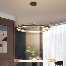 Moderna lâmpada led pingente para a cozinha sala de estar jantar loft preto círculo redondo pendurado lustre luminária interior
