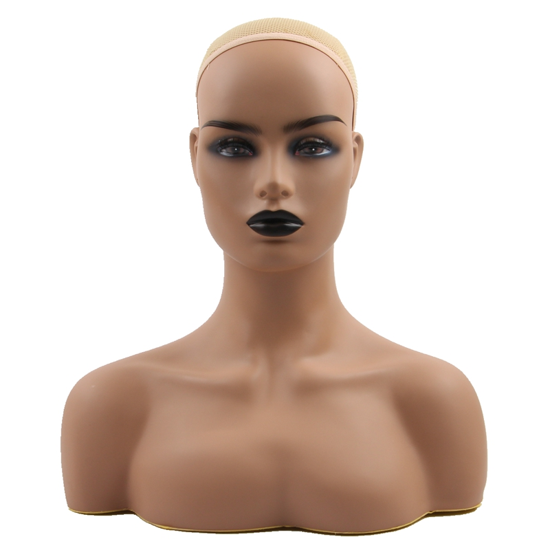 Harmony Realistic Half Body Double Shoulder PVC Training Mannequin Heads For Display Wigs Hat Jewelry