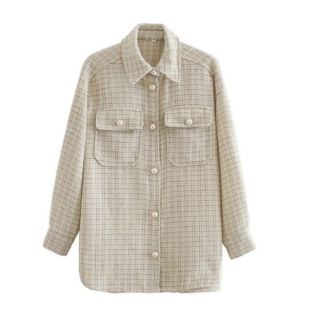 Women Blazer Za 2021 Office Lady Beige Plaid Print Singe Button Jacket Women Long Sleeve Casual Blazer Tops Mujer 3