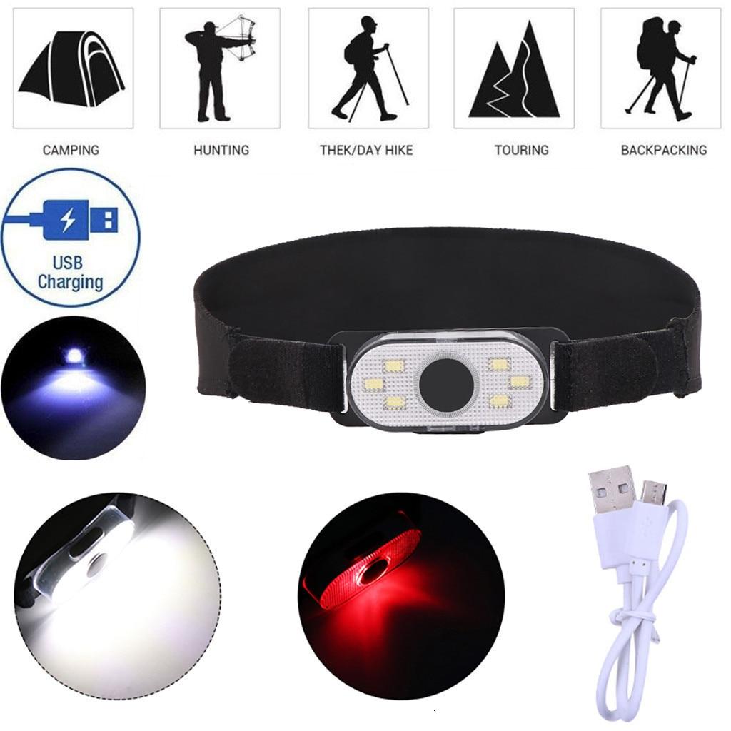 Новый портативный мини светодиодный налобный фонарь USB Перезаряжаемый фонарик 4 режима для кемпинга бега прогулки ночью с повязкой на