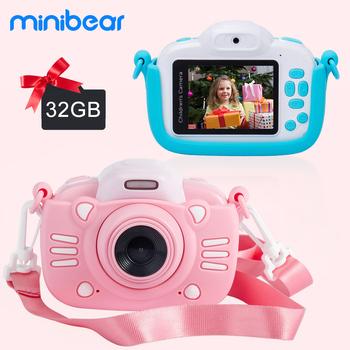 Minibear aparat dziecięcy dla dzieci aparat cyfrowy dla dzieci 1080P HD Video aparat zabawka na prezent urodzinowy dla dzieci dla dziewcząt chłopców tanie i dobre opinie Stała ogniskowa CN (pochodzenie) Elektroniczna stabilizacja obrazu Brak Full hd (1920x1080) CMOS 4 3 cale 24-60mm 24 0MP