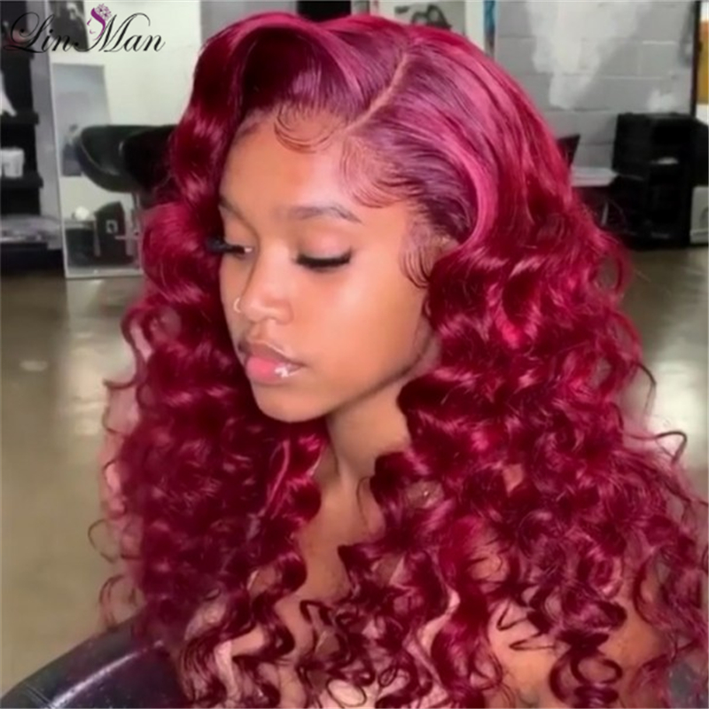 Ombre  Red Color Wave Human Hair Wig Lace Front Wigs With Baby Hair Brazilian Remy Hair Wigs Pre-Plucked