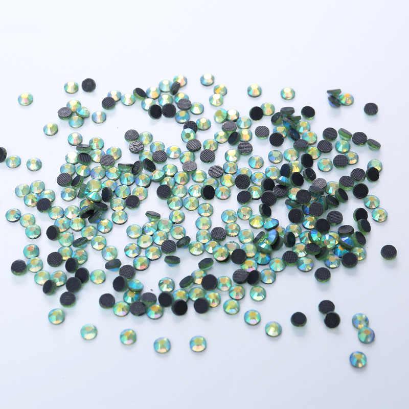 1440PCS Peridot AB DMC HotFix FlatBack Rhinestones Crystal Hot Fix Iron on Garment Sewing Bags Shoes Stones Wedding Dress Crafts