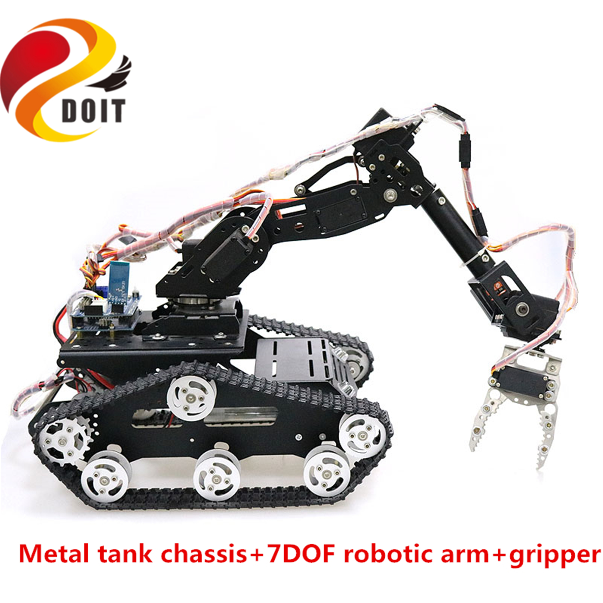 SZDOIT 7DOF Metal Vehicle Robot Mobile Platform 7-Axis Robotic Arm with Gripper + Y100 Tracked Tank Chassis Kit DIY for Arduino