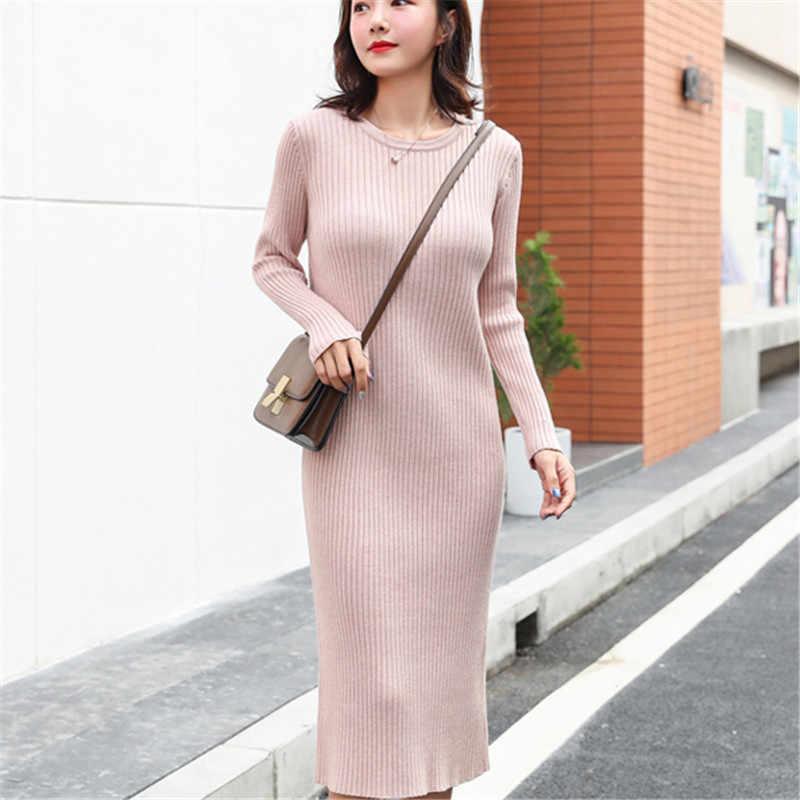Moda jesień sukienka z dzianiny kobiet swetry sukienki kobieta Over-kolana sweter sukienka eleganckie kobiety wysoka talia swetry długie sukienki