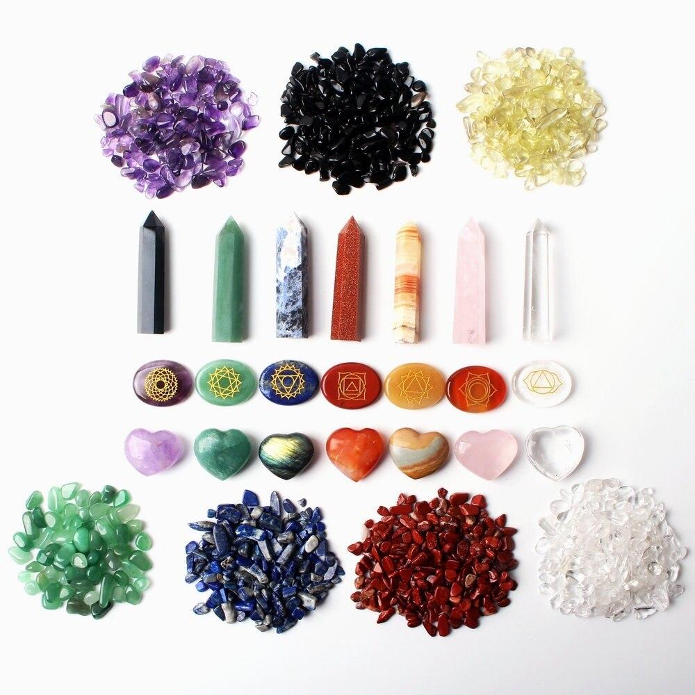 7 Chakra Healing Crystals Natural Gemstones Crystal Wand Chakra Symbol Balancing Stones Tumbled Stone Heart Reiki Decor
