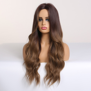 Image 4 - אלן איטון ארוך גלי Ombre שחור חום פאות גל סינטטי פאה עבור נשים טבעי התיכון חלק חום עמיד שיער קוספליי פאות