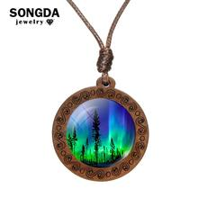 SONGDA Green Northern Lights Necklace Beautiful Natural Wonders Glass Cabochon Wooden Pendant Aurora Borealis Hand Craft Jewelry