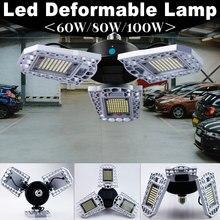 E27 LED Lamp 220V Bulb 100W 80W 60W E26 Light 110V Sensor Lampara Deformable For Parking Industrial Warehouse