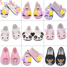 Shoes Dolls Cartoon-Accessories Baby New Born 43cm Lovely 17-Inches PU for Flower Fit