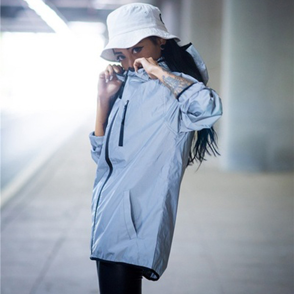 Hip Hop Reflective Noctilucent Hooded Jacket 2019 New Running Sporting Mens Light Jackets Coats Waterproof Coat Outwear 7.24 5
