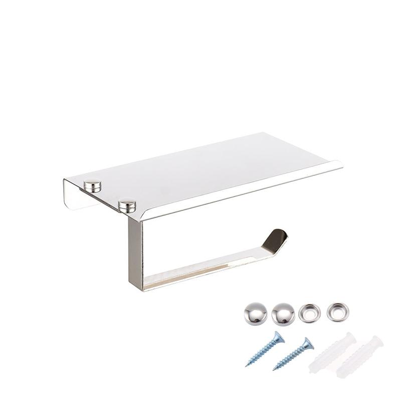 Stainless Steel Wall Mount Toilet Tissue Paper Holder with Phone Cigarette Shelf Bathroom Roll Paper Holder Rack