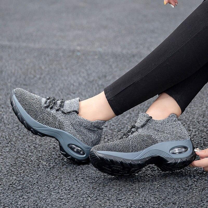 HOT   Woven Wedges Casual Shoes Women High Heel Sneakers Women Platform Shoes Zapatilla De Mujer Outdoor Walking Shoes BOT