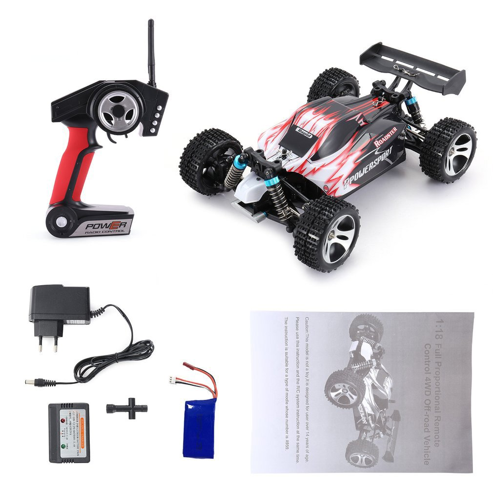 For WLtoys A959 2.4GHz 1:18 Full Proportional Remote Control 4WD Vehicle 45KM/h High Speed Electric RTR Off-road Buggy RC Car