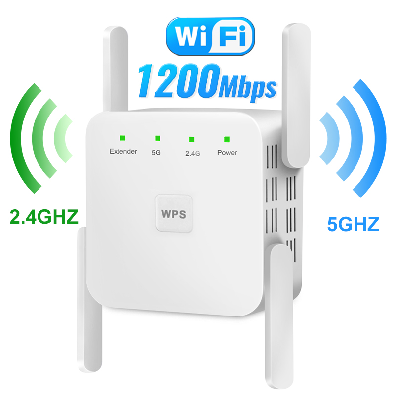 5G WiFi Repeater Wireless Wifi Amplifier Home Wi-fi Signal Booster 1200Mbps Router Wi Fi Long Range Extender Internet Amplifier 1
