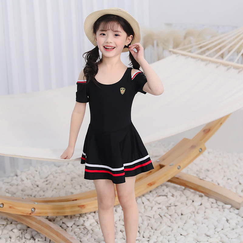 2019 New Style CHILDREN'S Swimwear Solid Color Lace Off-Shoulder Big Boy Playful Cute Dress-