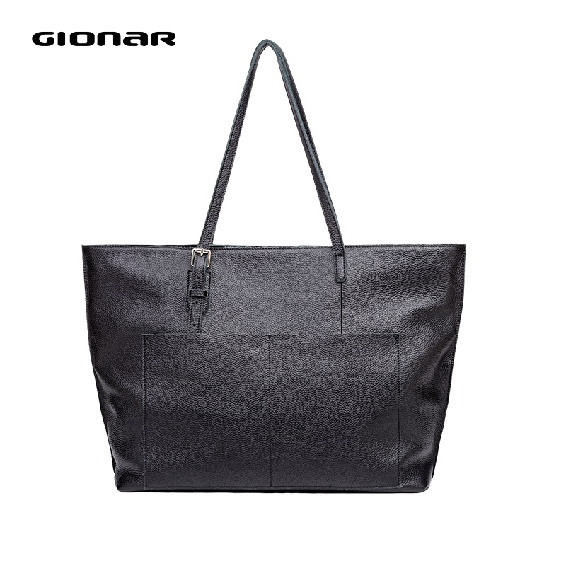 GIONAR Genuinle Leather Black Zipped Closure Tote Purse Luxury Handbags Women Designer 2019 Large Daily Work Laptop Shoulder Bag