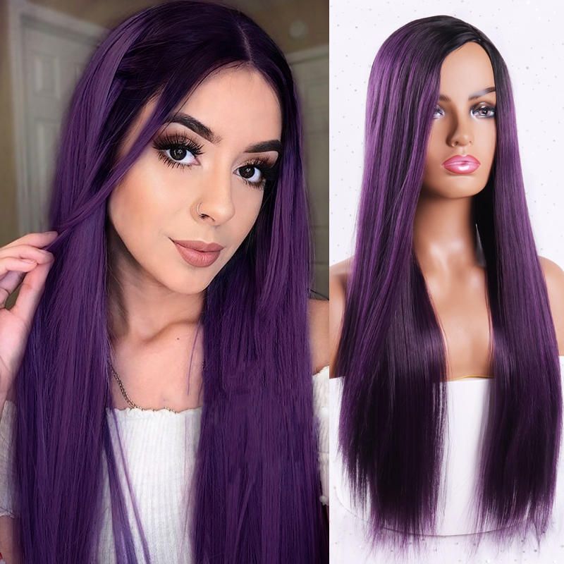 H7698a29c1c7247f993476c7e6f3b4fc6h - Linghang Ombre Blue Straight Long Synthetic Wigs For Women Black Pink Wigs 24 inch 11 Color can be Cosplay Wigs