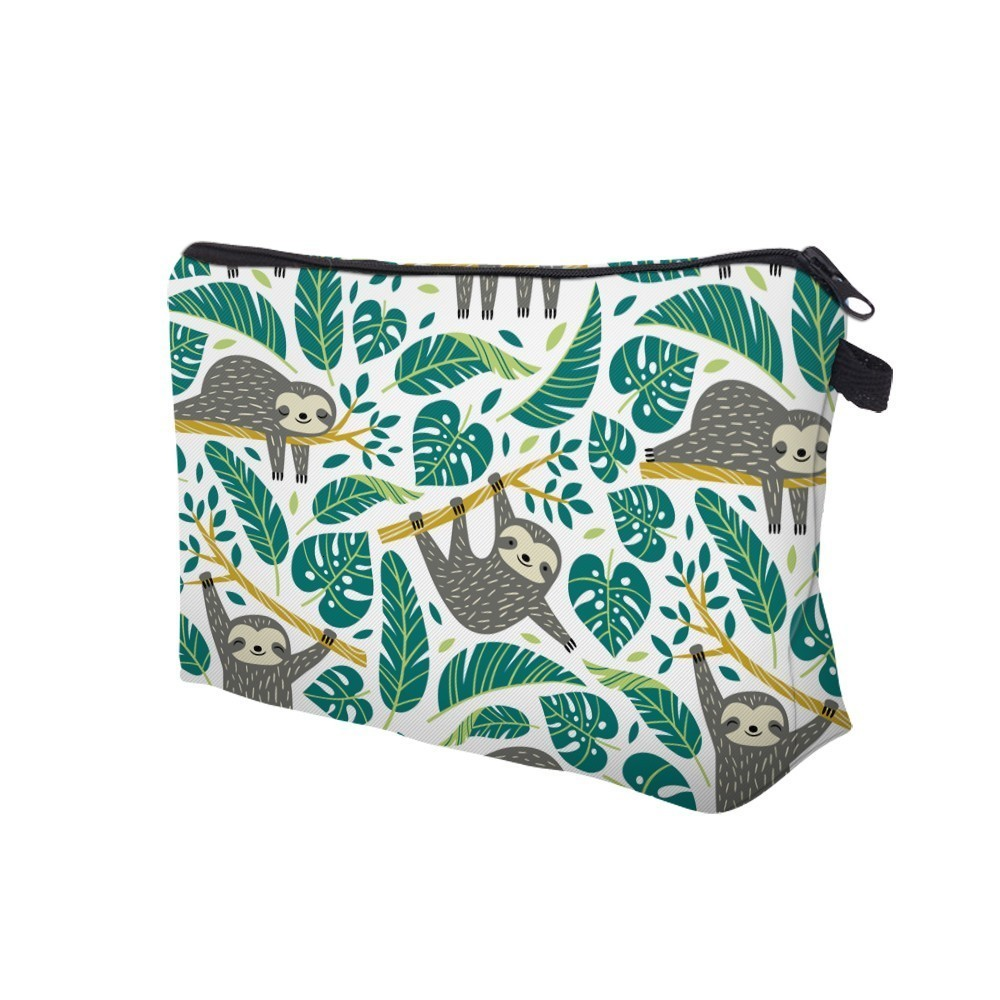 H7698a4a6268242309b3dd971379e735dB - Sloth Cosmetic Bag Waterproof Printing Swanky Turtle Leaf Toilet Bag Custom Style for Travel