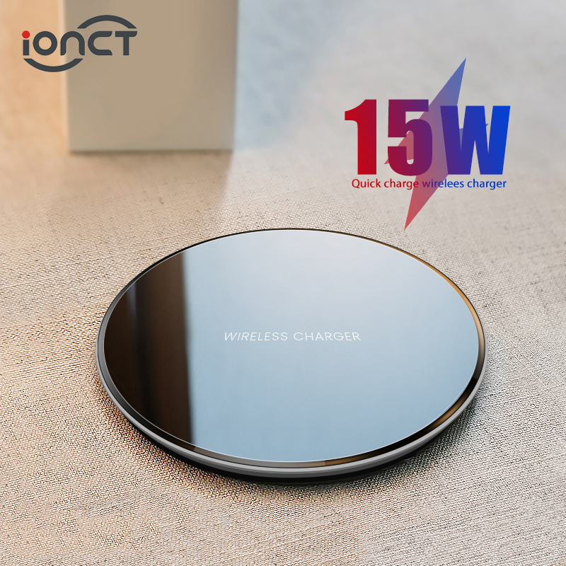 Cargador inalámbrico iONCT 15W qi para iPhone X XR XS Max 8 carga rápida sin cables para Samsung Xiaomi Huawei phone Qi cargador inalámbrico