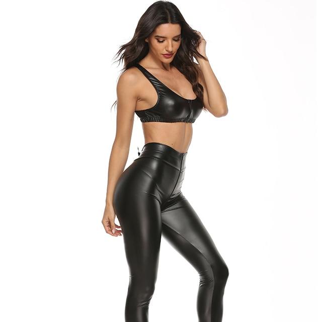 2PCS/Set Sexy PU Zipper Open Crotch Latex Pencil Pants With Vest Shiny Exotic Apparel High Elastic Clubwear Sex Party Costumes 5