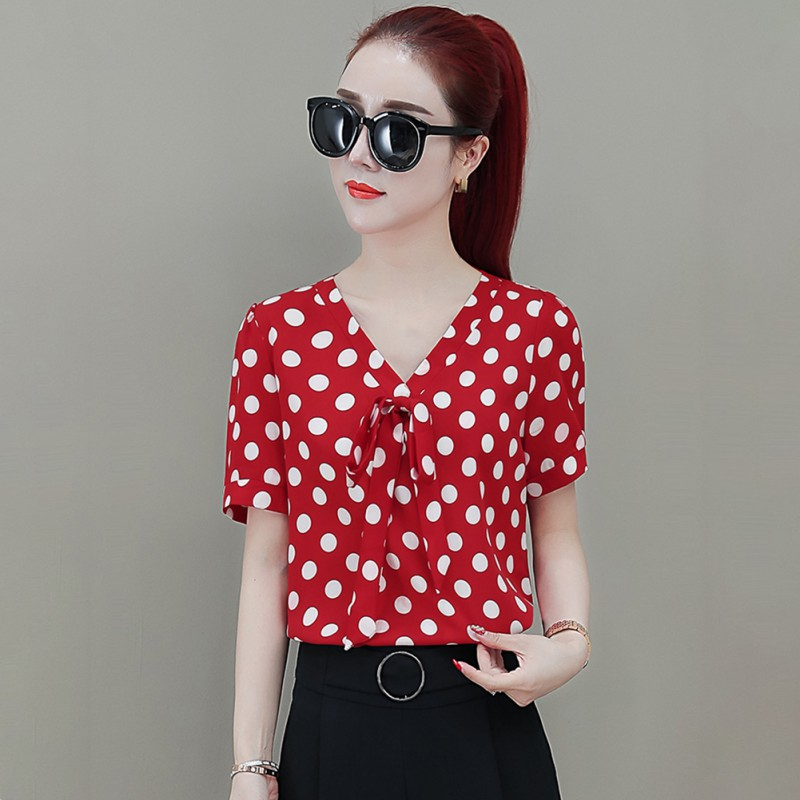 2019 Summer Sweet Slim Women's Blouse Bow Decoration Polka Dot Chiffon Shirt V-Neck Casual Short Sleeve Women's Blouse