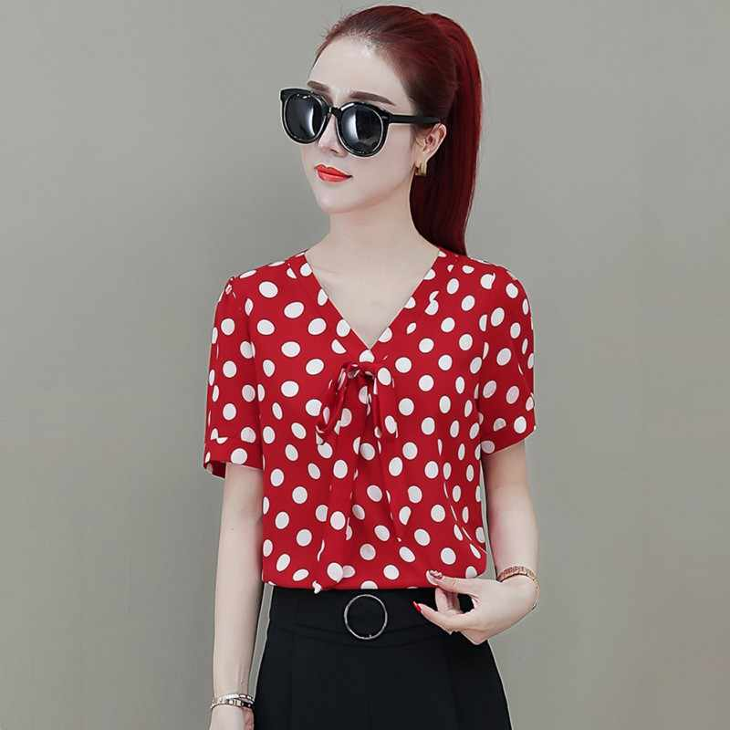 2019 ฤดูร้อน Sweet Slim ผู้หญิงเสื้อโบว์ตกแต่ง Polka Dot เสื้อชีฟอง V คอสั้นสบายเสื้อ \ \ \ \ \ \ \ \ \ \ \ \ \ \ \ \ \'s เสื้อ
