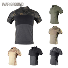 Men's tactical military uniform shirt breathable cotton army fan assault camouflage short-sleeved T-shirt outdoor sports outdoor camouflage military uniform fashion jacket set female 3 sets of camouflage army fan supplies