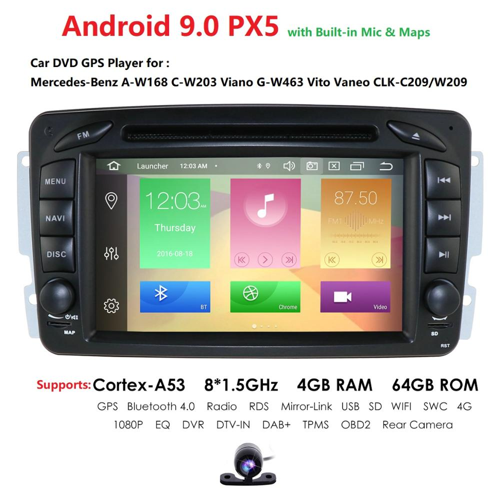 Car Multimedia player Android 9.0 PX5 <font><b>2</b></font> <font><b>Din</b></font> <font><b>GPS</b></font> <font><b>Autoradio</b></font> For Mercedes/Benz/CLK/W209/W203/W208/W463/Vaneo/Viano/Vito FM DSP DVR image