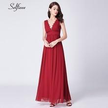 Elegant Red Maxi Dress Women A-Line Double V-Neck Sleeveless Ruched Vintage Chiffon Long Party Dress Vestidos De Festa 2019