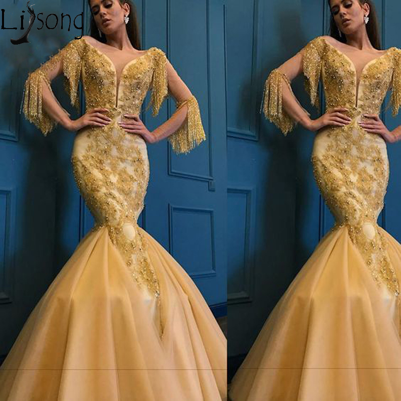 Chic Gold Mermaid Prom Dresses 2019 Sheer Neck Long Sleeve Appliqued Beads Evening Dress With Tassels Pageant Party Formal Gowns