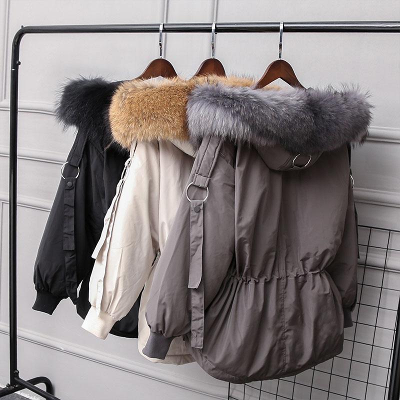 Jacket Women New Winter Large Real Raccoon Fur Parkas Women Down Jackets Warm Outwear Coats Female Hooded White Duck Down Jacket