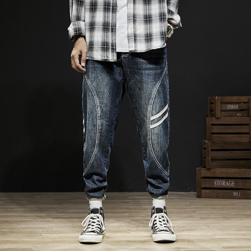 Fashion Streetwear Men Jeans Big Size 28-42 Loose Harem Jeans Men Stripe Designer Spliced Cargo Pants Retro Hip Hop Jeans Homme