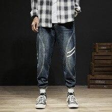 Fashion Streetwear Men Jeans Big Size 28-42 Loose Harem Stripe Designer Spliced Cargo Pants Retro Hip Hop Homme