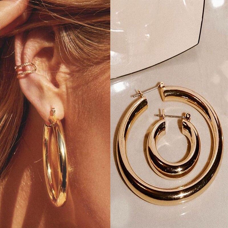 Thick Chunky Gold Hoop Earrings Stainless Steel  For Women Ins Popular Earrings 2020