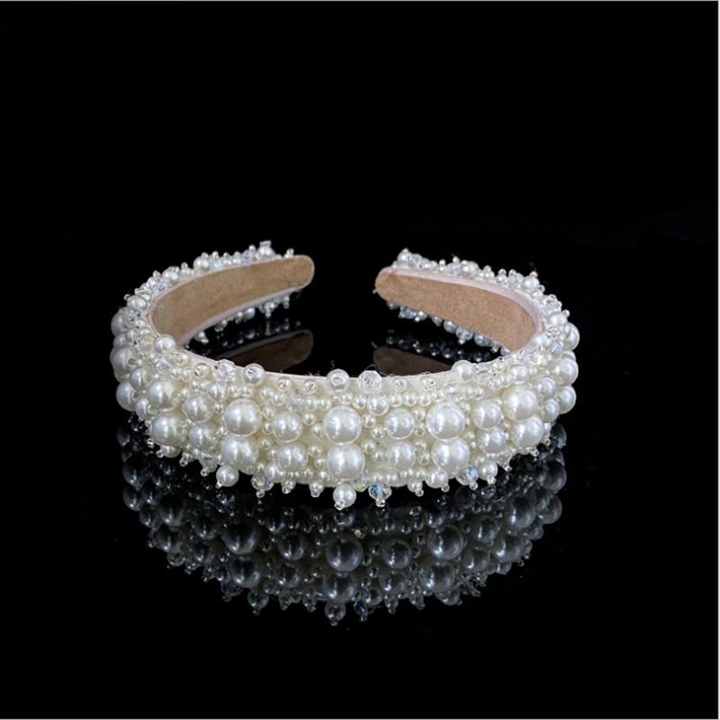 FD003 Elegant Bridal hairpiece fashion wedding headpiece classic hangmade pearl hair hoop sewing bead bridal tiara crown