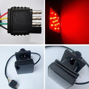 Image 3 - 1 pces 12led/15led caminhão luz de engate reboque traseiro luz de freio parar cauda singal lâmpada com preto vermelho 2 Polegada quadrado receptor padrão